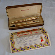 Vintage 1940's Eversharp 14K Gold Filled Skyline Pen and Pencil Set