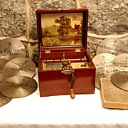 SALE Mira No.34 Metal Disc Hand Crank Music Mahogany Music Box