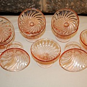 "Anchor Hocking Pink Depression Style ""Spiral"" Sherberts (set of 10)"