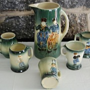 Early 1900's Roseville Dutch Art Pottery Holland Stein Set