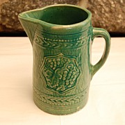 Early 1900's Mc Coy Pottery Green Grape Pitcher