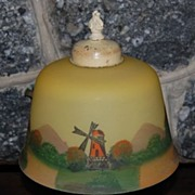 Early 1900's Scenic Reverse Glass Pot Metal Based Lamp