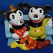 SOLD Early Bisque Mickey and Minnie Mouse  Pluto Toothbrush Holder