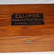 "Early 1900's Oak ""Eclipse Darning Cotton""Advertising Display Box"