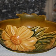 "SALE Roseville Pottery "" Peony "" Handled 6"" Bowl"