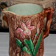SALE Early 1900's Majolica Brown Bark with Flowers Pottery Pitcher