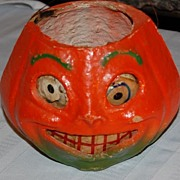 Mid 1900's Halloween Painted Pulp/Egg Create Jack O Lantern