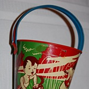 "Vintage 1940's Tin Lithographed ""Metal Toy"" Sand Bucket"