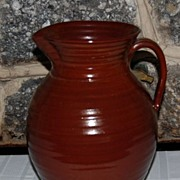 Vintage  Sturbridge Brown Glazed Ribbed Pottery Pitcher