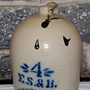 Late 1800's Stoneware  E.S.&B New Brighton,Pa. Salt Glazed Jug