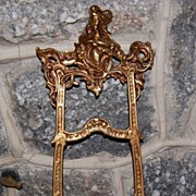 Vintage Ornate Brass Tone Metal Display Easel