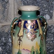 Early 1900's Hand Painted Japanese Scenic Pottery Handled Urn