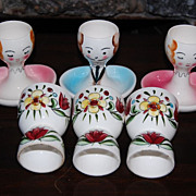 Vintage Figural Hand Painted Porcelain Egg Cups with Spoon Rest