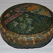 Early 1900's Hand Painted Woven Wicker Sewing Basket