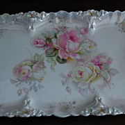 Early 1900's Pink Floral Porcelain Dresser Tray with Lustre Finish