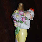 "Early 1900's Germany ""Bell Hop"" Porcelain Figural Perfume Bottle"