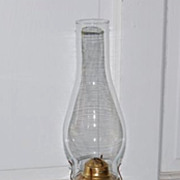 Late 1800's Pressed Glass Cast Iron Base Kerosene Lamp