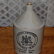Vintage Ernest Petrucci Wines New York Stoneware Gallon Jug