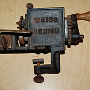 "Early 1900's Cast Iron  ""Weiss Junior"" Hand Crank Pinker Trimmer"