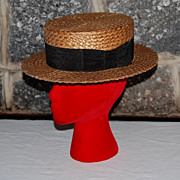 "Early 1900's Sarnoff Irving ""Straw Boater"" Gentleman Hat"