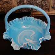 Vintage Swirled Blue and White Milkglass Crimpted Edge Basket