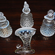 Fenton Hobnail Iridescent Cruets and Miniature Horn of Plenty