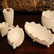 Vintage Fenton Hobnail Milkglass Decorative Accent Pieces