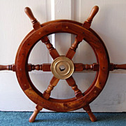 SOLD Vintage Nautical Cherry Wood Six Spindle Ships Wheel