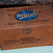 "Vintage Wooden ""Woodvale"" Nickle Cigar Box"