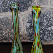 "Vintage Hand Blown ""End of the Day"" Art Glass Vases"