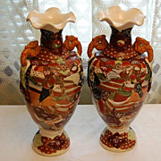 Vintage Hand Painted Satsuma  Moriage Pottery Vases