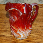 Vintage Marigold  Imperial Slag Glass Scenic Pitcher