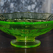Etched Florescent  Opalescent Depression Glass Footed Bowl