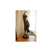 Art Nouveau Bronze Coated Pot Metal Lady Figurine