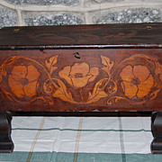 Early 1900's Handmade Pyrography  Folk Art  Keepsake Chest