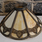 Early 1900's Bradley & Hubbard Carmel Slag Glass Lamp Shade