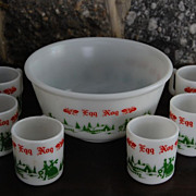 Vintage Anchor Hocking Egg Nog Serving Bowl with Cups
