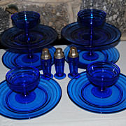 Vintage Hazel Atlas Moderntone Blue Sherbert and Luncheon Plates