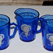 "Vintage Cobalt Blue ""Shirley Temple"" Pitchers"
