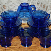 Hazel Atlas Blue Moderntone Cups,Saucers and Creamer and Sugar