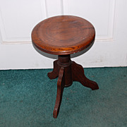 SOLD Early 1900's Three Legged Oak Organ/Piano Stools