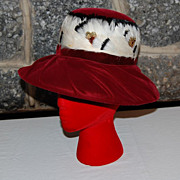 Vintage Ladies Red Velveteen  Brim Hat with Feather Band