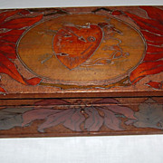 Wooden Pyrography Folk Art  Keepsake Box  Dated 1910
