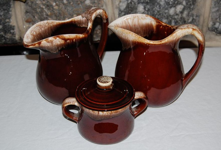 Vintage Mc Coy Pottery Brown Drip Pitchers and Sugar Bowl
