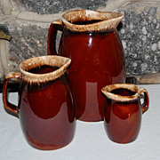 SOLD Vintage Hull Pottery USA Brown Drip Pitcher Collection