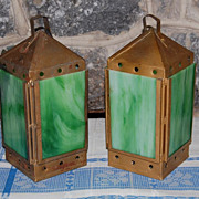 Vintage Painted Tin Slag Glass Lanterns with Candle Holders