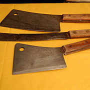 Vintage Foster Brothers Meat Cleavers and Butcher Knife