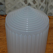 Early 1900's Ribbed Opal Glass School House/ Foyer   Light Shade