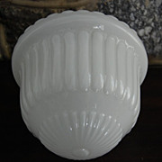 Early 1900's Ribbed White Opal School House Glass Light Shade