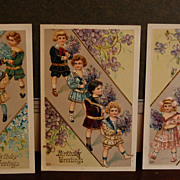 "Early 1900's Raised Lithograph ""Birthday Greetings"" Post Cards"